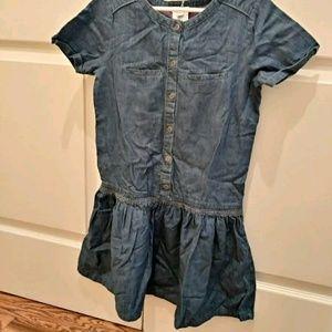 Jacadi girls denim short sleeve dress size 10y